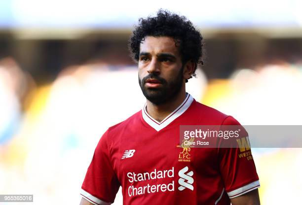 Mohamed Salah of Liverpool looks on during the Premier League match between Chelsea and Liverpool at Stamford Bridge on May 6 2018 in London England