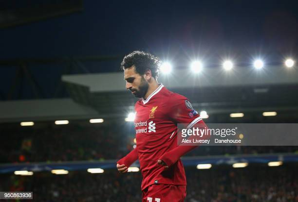 Mohamed Salah of Liverpool looks on during the UEFA Champions League Semi Final First Leg match between Liverpool and AS Roma at Anfield on April 24...