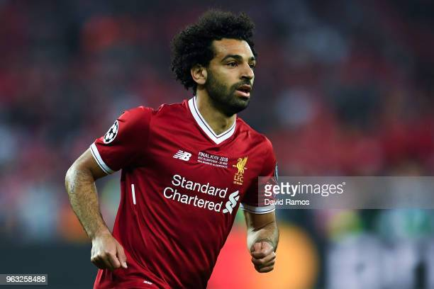 Mohamed Salah of Liverpool looks on during the UEFA Champions League final between Real Madrid and Liverpool on May 26 2018 in Kiev Ukraine