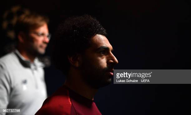 Mohamed Salah of Liverpool looks on in the tunnel prior to the UEFA Champions League Final between Real Madrid and Liverpool at NSC Olimpiyskiy...
