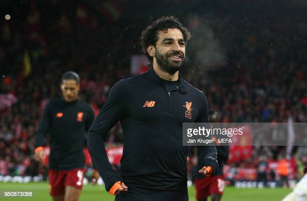 Mohamed Salah of Liverpool makes his way into the tunnel after a warm up during the UEFA Champions League Semi Final First Leg match between...