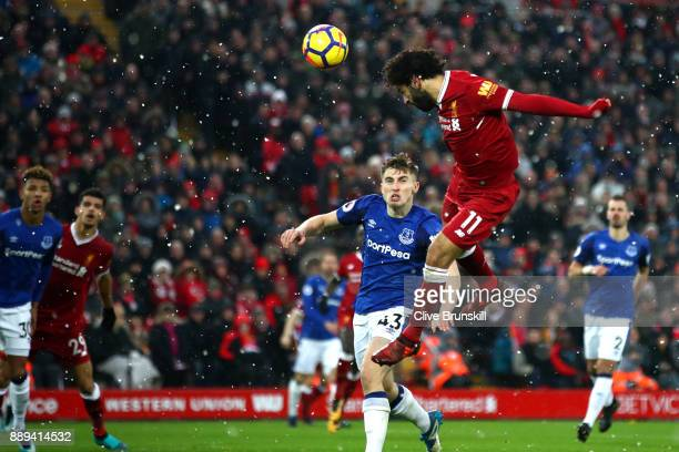 Mohamed Salah of Liverpool misses a chance during the Premier League match between Liverpool and Everton at Anfield on December 10 2017 in Liverpool...
