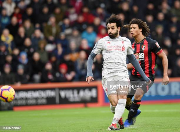 Mohamed Salah of Liverpool opens the scoring for Liverpool during the Premier League match between AFC Bournemouth and Liverpool FC at Vitality...