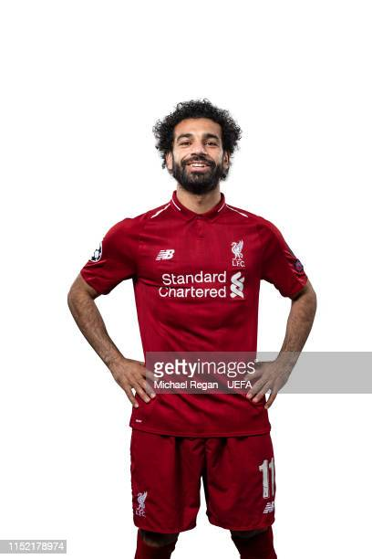 This image was digitally altered Mohamed Salah of Liverpool poses for a photo during the Liverpool FC UEFA Champions League Final Preview Portrait...