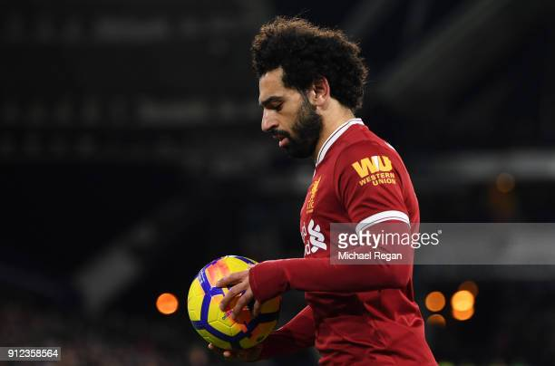 Mohamed Salah of Liverpool prepares to take a corner during the Premier League match between Huddersfield Town and Liverpool at John Smith's Stadium...