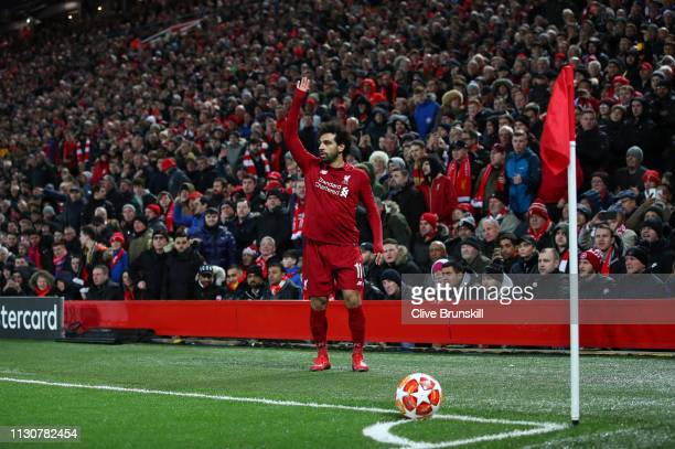 Mohamed Salah of Liverpool prepares to take a corner during the UEFA Champions League Round of 16 First Leg match between Liverpool and FC Bayern...
