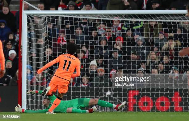 Mohamed Salah of Liverpool puts his team 20 up during the Premier League match between Southampton and Liverpool at St Mary's Stadium on February 11...