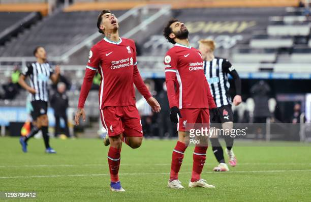 Mohamed Salah of Liverpool reacts after a missed chance during the Premier League match between Newcastle United and Liverpool at St. James' Park on...
