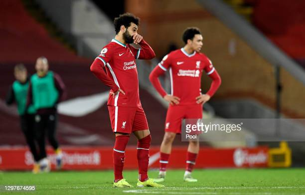 Mohamed Salah of Liverpool reacts after Ashley Barnes of Burnley scores their side's first goal from the penalty spot during the Premier League match...