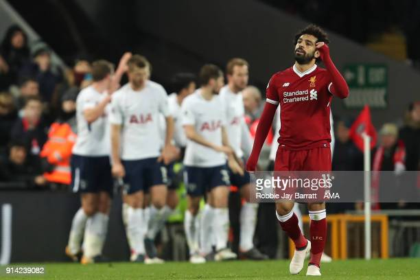 Mohamed Salah of Liverpool reacts after conceding during the Premier League match between Liverpool and Tottenham Hotspur at Anfield on February 4...