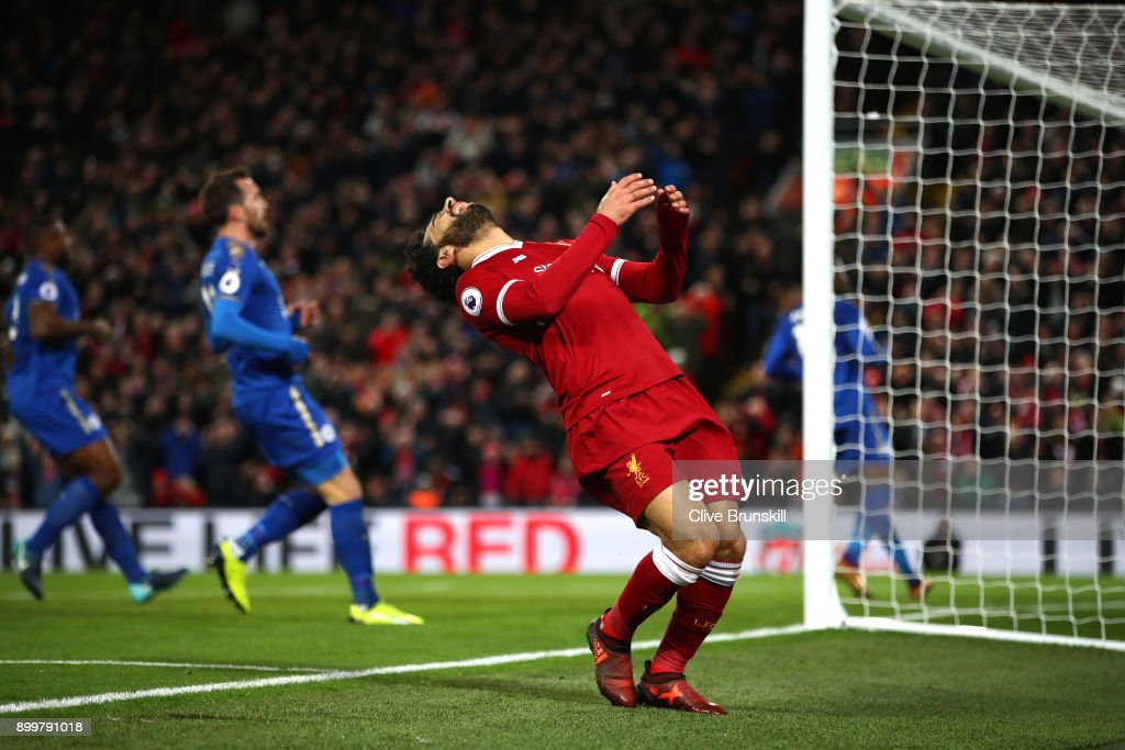 Mohamed Salah of Liverpool reacts after failing to score during the Premier League match between Liverpool and Leicester City at Anfield on December 30, 2017 in Liverpool, England.