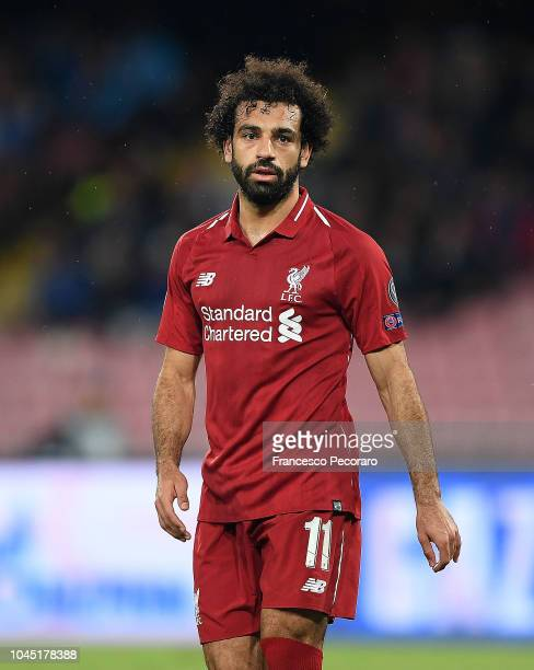 Mohamed Salah of Liverpool reacts after the Group C match of the UEFA Champions League between SSC Napoli and Liverpool at Stadio San Paolo on...