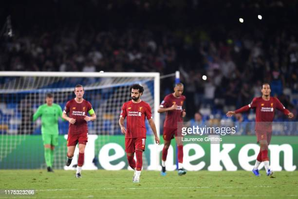 Mohamed Salah of Liverpool reacts as Napoli score their first goal during the UEFA Champions League group E match between SSC Napoli and Liverpool FC...