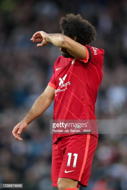 Mohamed Salah of Liverpool reacts at full time during the Premier League match between Liverpool and Manchester City at Anfield on October 3, 2021 in...