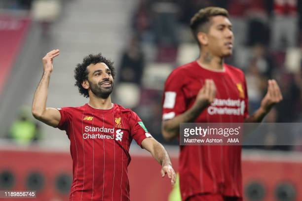 Mohamed Salah of Liverpool reacts during the FIFA Club World Cup Qatar 2019 Final match between Liverpool FC and CR Flamengo at Khalifa International...