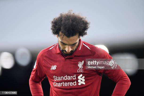 Mohamed Salah of Liverpool reacts during the Premier League match between Fulham FC and Liverpool FC at Craven Cottage on March 17 2019 in London...