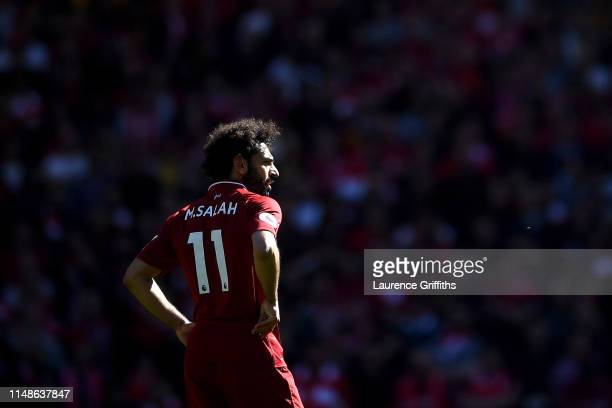 Mohamed Salah of Liverpool reacts during the Premier League match between Liverpool FC and Wolverhampton Wanderers at Anfield on May 12 2019 in...