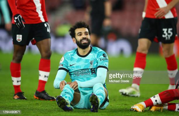 Mohamed Salah of Liverpool reacts during the Premier League match between Southampton and Liverpool at St Mary's Stadium on January 04, 2021 in...