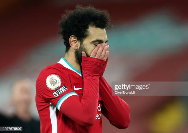 Mohamed Salah of Liverpool reacts during the Premier League match between Liverpool and Burnley at Anfield on January 21, 2021 in Liverpool, England....