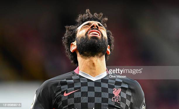 Mohamed Salah of Liverpool reacts during the Premier League match between Burnley and Liverpool at Turf Moor on May 19, 2021 in Burnley, England.