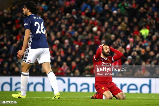 Mohamed Salah of Liverpool reacts during the Premier League match between Liverpool and West Bromwich Albion at Anfield on December 13 2017 in...