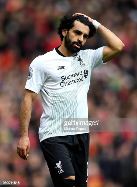 Mohamed Salah of Liverpool reacts during the Premier League match between Manchester United and Liverpool at Old Trafford on March 10 2018 in...