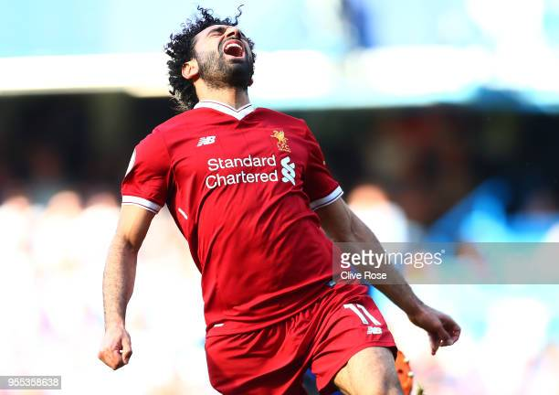 Mohamed Salah of Liverpool reacts during the Premier League match between Chelsea and Liverpool at Stamford Bridge on May 6 2018 in London England