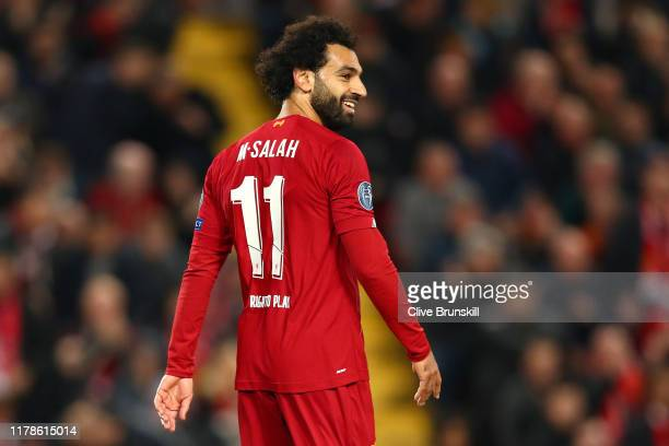 Mohamed Salah of Liverpool reacts during the UEFA Champions League group E match between Liverpool FC and RB Salzburg at Anfield on October 02 2019...