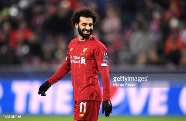 Mohamed Salah of Liverpool reacts during the UEFA Champions League group E match between RB Salzburg and Liverpool FC at Red Bull Arena on December...
