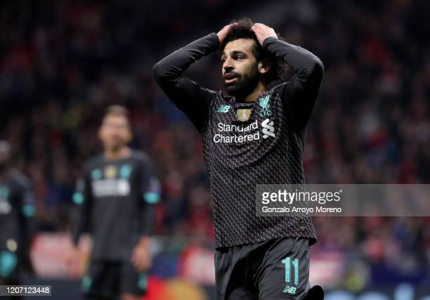 Mohamed Salah of Liverpool reacts during the UEFA Champions League round of 16 first leg match between Atletico Madrid and Liverpool FC at Wanda...