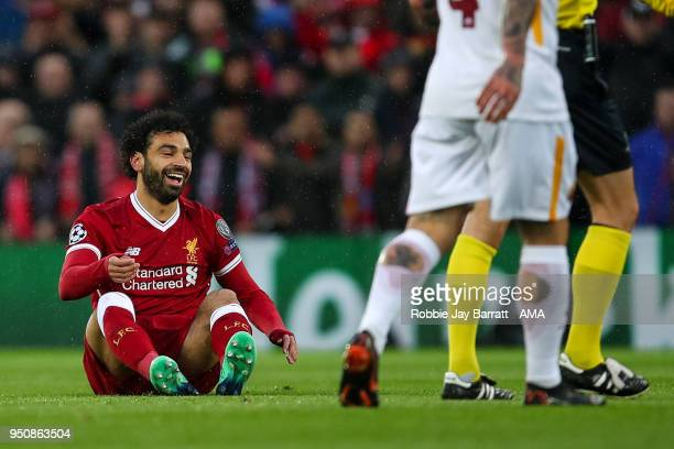 Mohamed Salah of Liverpool reacts during the UEFA Champions League Semi Final First Leg match between Liverpool and AS Roma at Anfield on April 24...