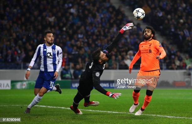 Mohamed Salah of Liverpool rounds the keeper Jose Sa of FC Porto on his way to scoring the 2nd goal during the UEFA Champions League Round of 16...
