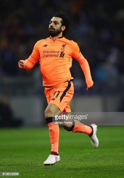 Mohamed Salah of Liverpool runs for the ball during the UEFA Champions League Round of 16 First Leg match between FC Porto and Liverpool at Estadio...