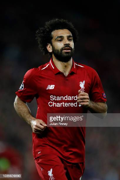 Mohamed Salah of Liverpool runs off the ball during the Group C match of the UEFA Champions League between Liverpool and Paris SaintGermain at...