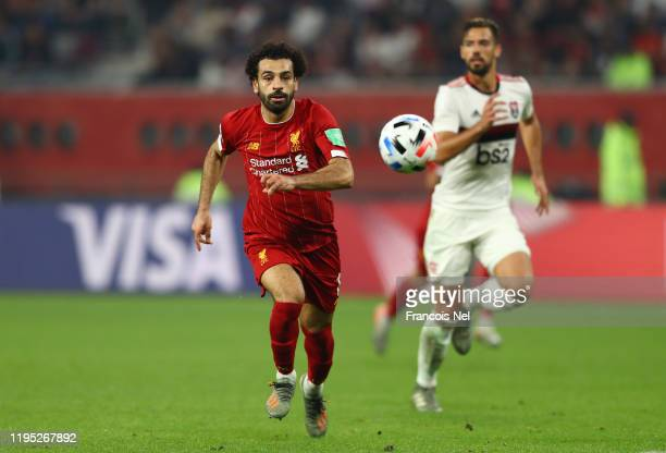 Mohamed Salah of Liverpool runs onto the ball during the FIFA Club World Cup Qatar 2019 Final between Liverpool FC and CR Flamengo at Education City...