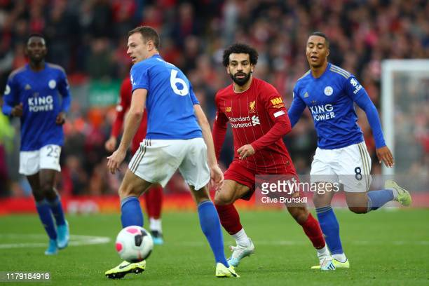 Mohamed Salah of Liverpool runs with the ball during the Premier League match between Liverpool FC and Leicester City at Anfield on October 05 2019...