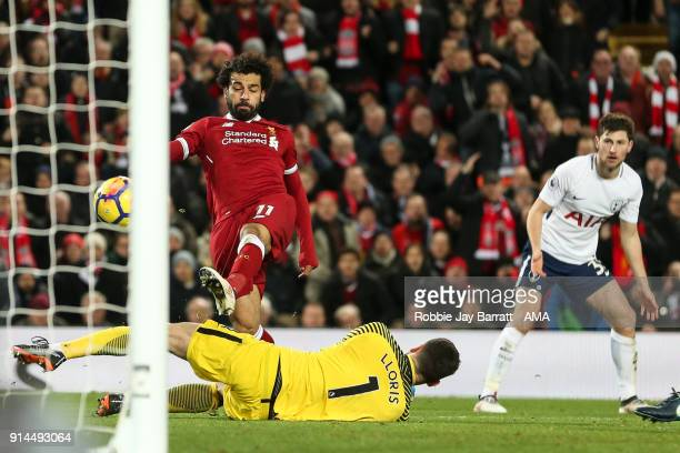 Mohamed Salah of Liverpool scores a goal to make it 21 during the Premier League match between Liverpool and Tottenham Hotspur at Anfield on February...