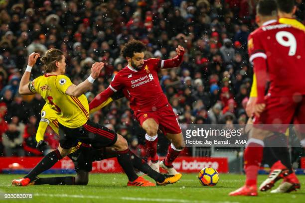 Mohamed Salah of Liverpool scores a goal to make it 40 during the Premier League match between Liverpool and Watford at Anfield on March 17 2018 in...