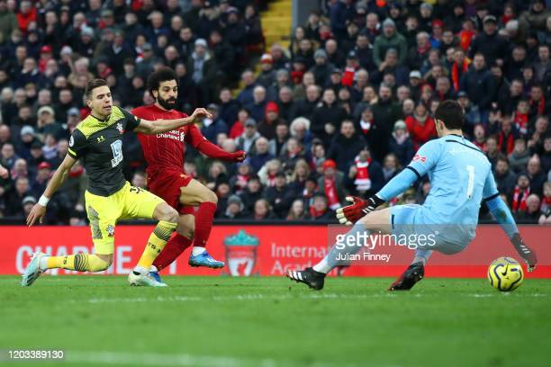 Mohamed Salah of Liverpool scores a goal which is later called offside during the Premier League match between Liverpool FC and Southampton FC at...