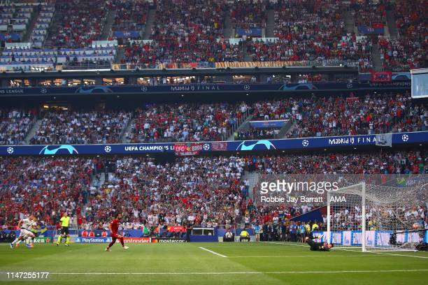 Mohamed Salah of Liverpool scores a penalty to make the score 0-1 during the UEFA Champions League Final between Tottenham Hotspur and Liverpool at...