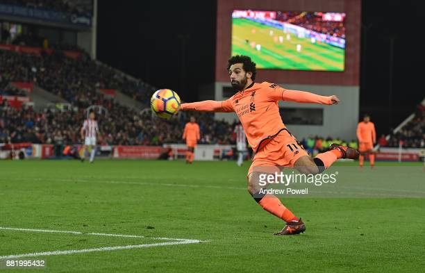 Mohamed Salah of Liverpool scores and celebrates the second goalduring the Premier League match between Stoke City and Liverpool at Bet365 Stadium on...