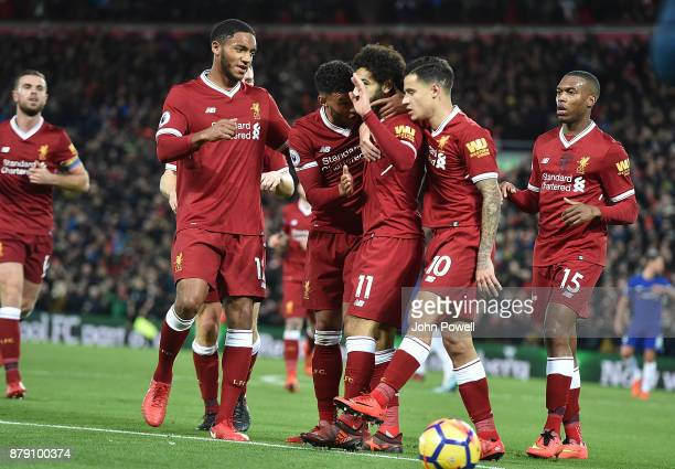 MOhamed Salah of Liverpool Scores and Celebrates there goal during the Premier League match between Liverpool and Chelsea at Anfield on November 25...