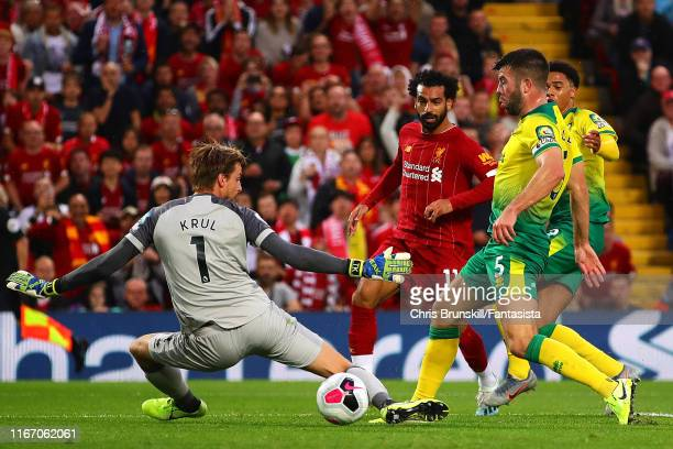 Mohamed Salah of Liverpool scores his side's second goal during the Premier League match between Liverpool FC and Norwich City at Anfield on August...