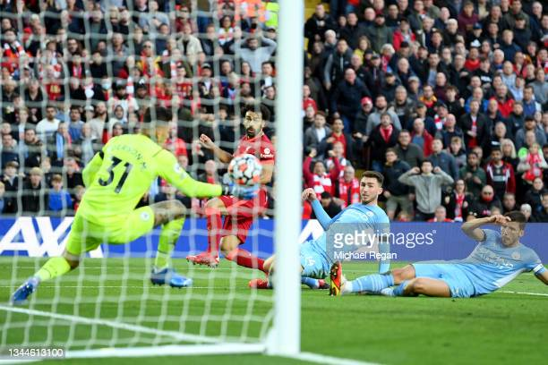 Mohamed Salah of Liverpool scores his sides second goal during the Premier League match between Liverpool and Manchester City at Anfield on October...