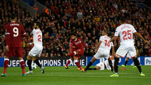 Mohamed Salah of Liverpool scores his sides second goal during the UEFA...