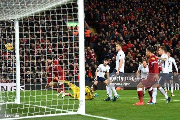 Mohamed Salah of Liverpool scores his sides second goal during the Premier League match between Liverpool and Tottenham Hotspur at Anfield on...
