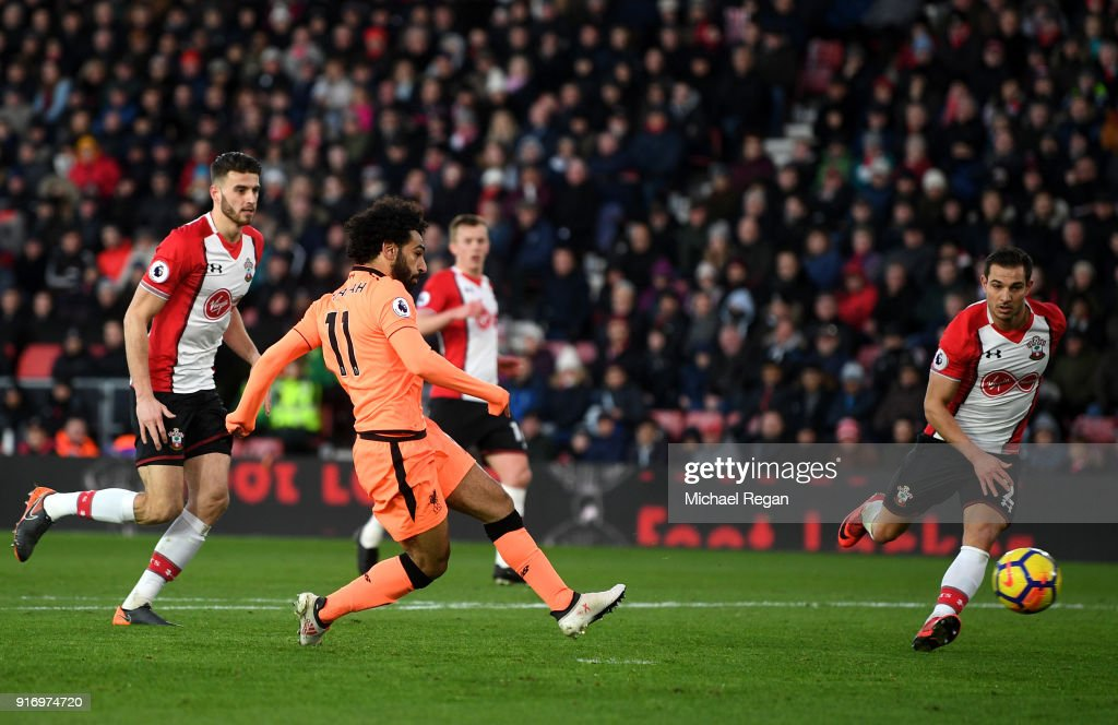 Mohamed Salah of Liverpool scores his sides second goal during the Premier League match between Southampton and Liverpool at St Mary's Stadium on February 11, 2018 in Southampton, England.
