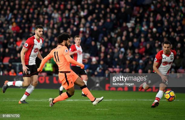 Mohamed Salah of Liverpool scores his sides second goal during the Premier League match between Southampton and Liverpool at St Mary's Stadium on...