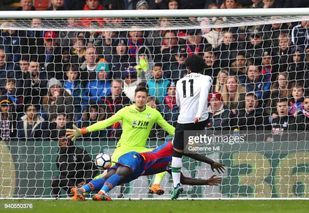 Mohamed Salah of Liverpool scores his sides second goal during the Premier League match between Crystal Palace and Liverpool at Selhurst Park on...