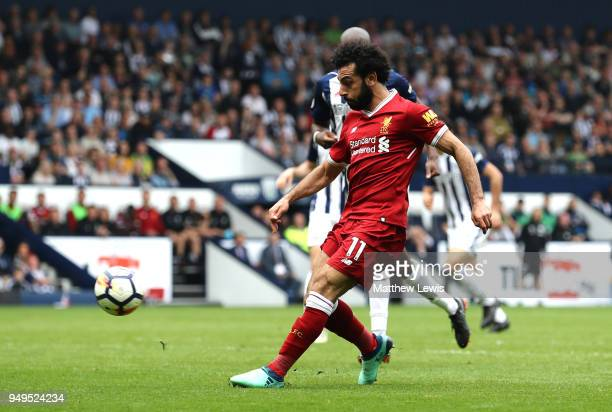 Mohamed Salah of Liverpool scores his sides second goal during the Premier League match between West Bromwich Albion and Liverpool at The Hawthorns...